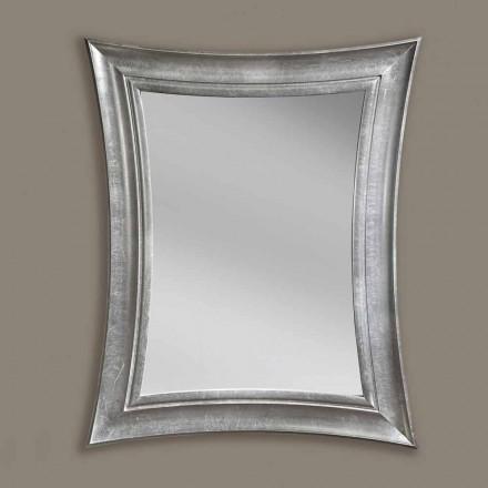Miroir mural en bois rectangulaire fait main de Sandro, fabriqué en Italie