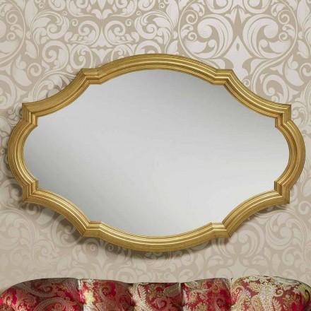 Miroir mural moderne en argent et or en bois produit en Italie Davide