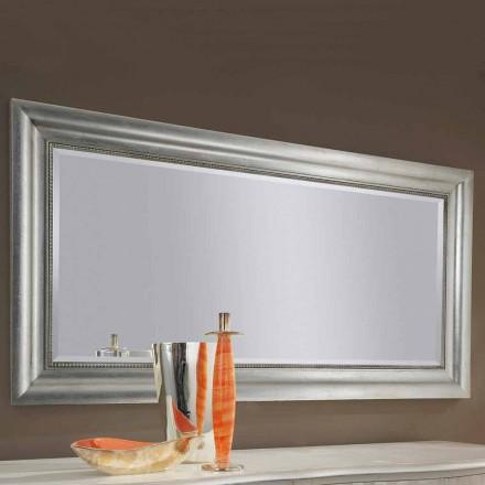 Miroir mural fait main en bois doré / argenté, fabriqué en Italie Alessandro