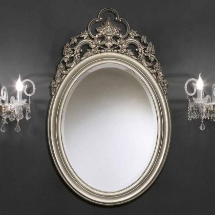 Miroir mural ovale fait main en argent / or, fabriqué en Italie, Giorgio
