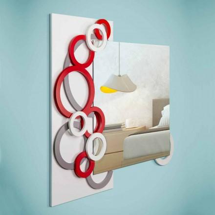 Miroir Mural Design Moderne Blanc Rouge Gris en Bois - Illusion