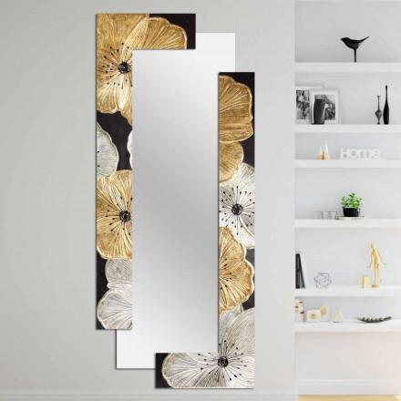Miroir mural avec décoration floral Daiano, fait à la main en Italie