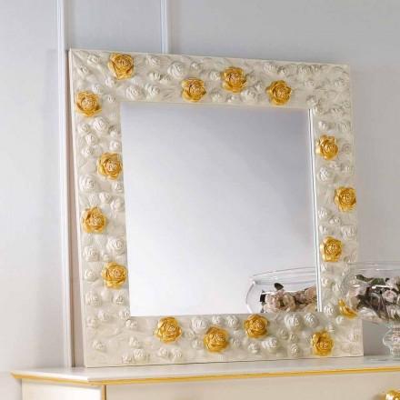 Miroir mural de design décoré avec des roses Flower