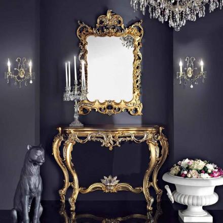 Miroir mural et console en bois avec plateau en mdf fabriqué en Italie Andrea