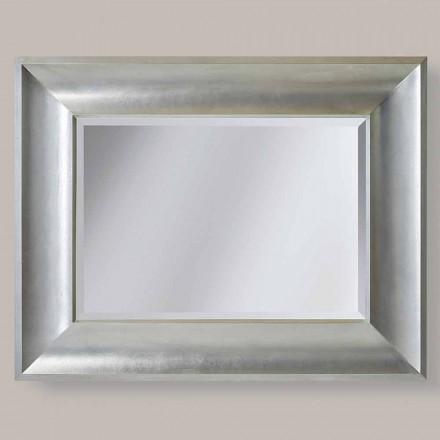 Miroir mural or / argent en bois ayous, fabriqué en Italie, Silvio