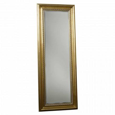 Miroir de sol en bois avec piédestal, fabriqué à la main en Italie, Leonardo