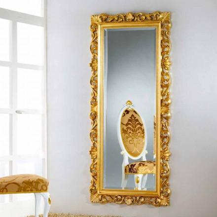 Miroir de sol /mural  de design avec finissage feuille d'or Mata