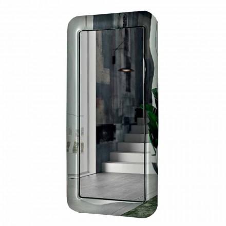 Miroir Long Rectangulaire avec Cadre Effet Cristal Fabriqué en Italie - Boucle