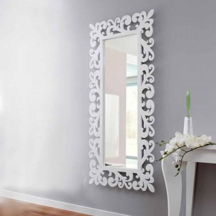 Grand miroir mural design rectangulaire en bois blanc moderne - Cortese