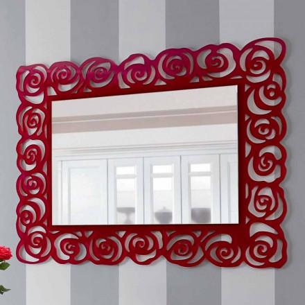 Grand miroir mural moderne en plexiglas rouge - Rosalinda