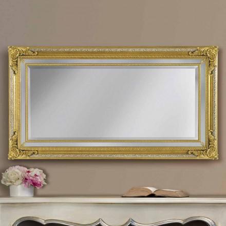 Miroir mural en bois ayous fabriqué à la main, fabriqué en Italie, Carlo