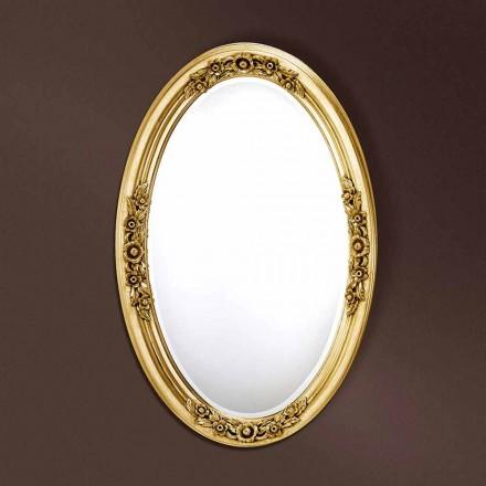 Miroir ovale moderne fait à la main en bois, fabriqué en Italie, Federico