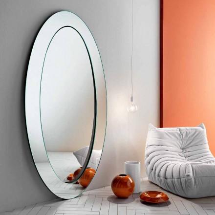 Miroir sur pied ovale moderne avec cadre incliné fabriqué en Italie - Salamina