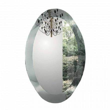Miroir mural ovale en cristal ondulé fabriqué en Italie - Eclisse