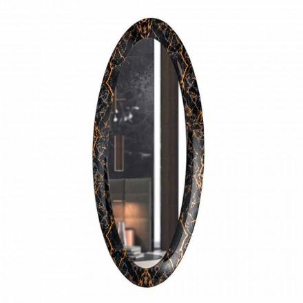 Miroir mural long ovale avec cadre effet marbre fabriqué en Italie - Denisse