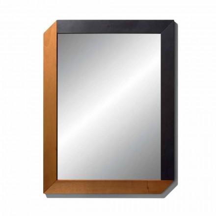 Miroir rectangulaire avec cadre en bois de design Made in Italy - Cira