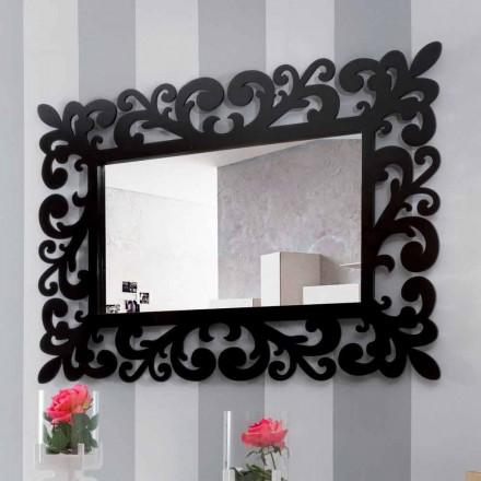 Grand Miroir Mural Rectangulaire Design Moderne en Bois Noir - Manola