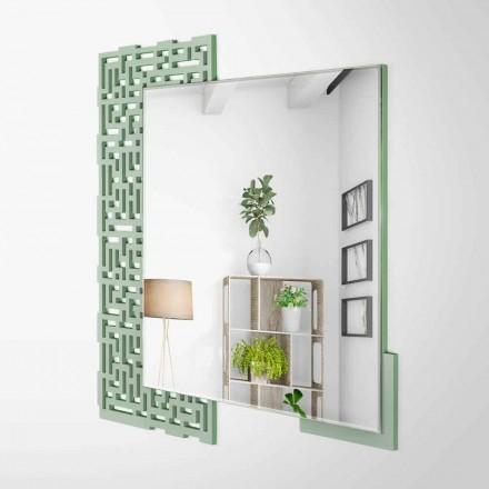 Miroir mural design carré moderne en bois vert décoré - Labyrinthe