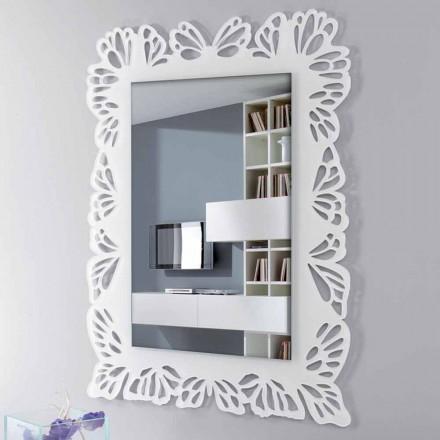 Miroir mural en plexiglas blanc avec cadre rectangulaire décoré - Alidifarf