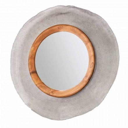 Miroir mural circulaire moderne en métal et teck Monno