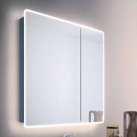 Miroir moderne à 2 portes avec lumières LED, Valter