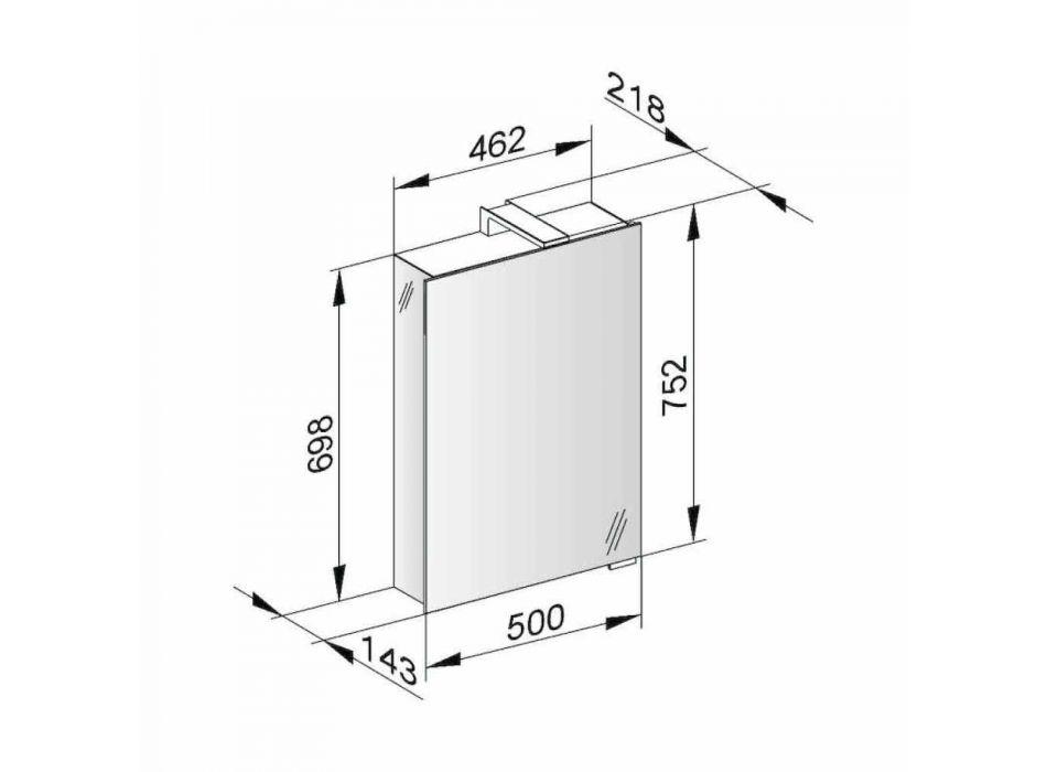 Miroir de rangement moderne avec porte en cristal et détails chromés - Maxi