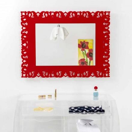 Miroir rouge avec décoration en macramé Tonya, fait en Italie