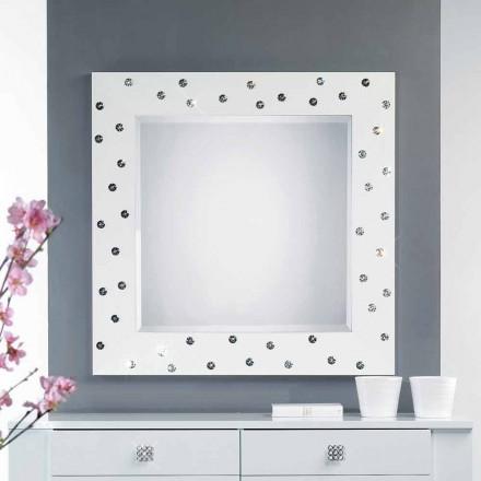 Miroir blanc mural avec décoration en cristal Swarovsky Tiffany