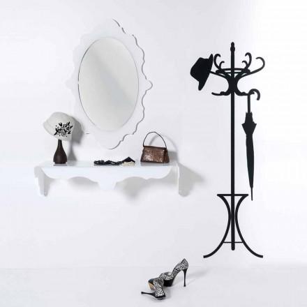Miroir de design blanc avec cadre décoré Joy, fait en Italie
