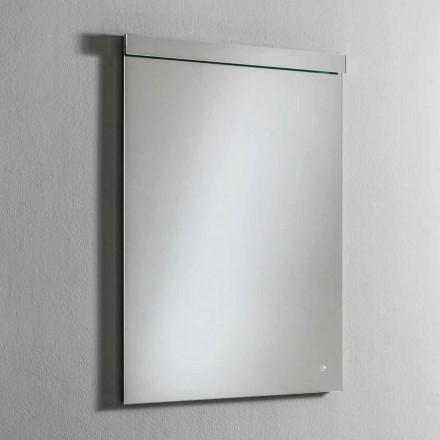 Miroir mural avec éclairage LED intégré en acier inoxydable Made in Italy - Tuccio