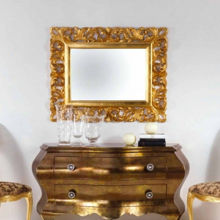 Miroir mural de design finissage d' or Gudin, 108x87 cm