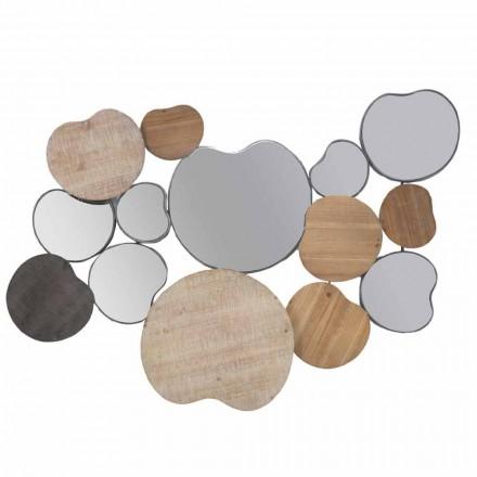 Miroir mural design moderne en bois et fer - Ortensio