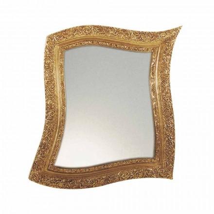 Miroir mural de style baroque en fer doré et argenté fabriqué en Italie - Rudi