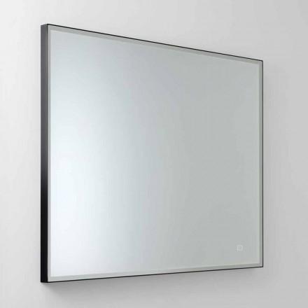 Miroir mural carré avec LED en verre satiné Made in Italy - Mirro