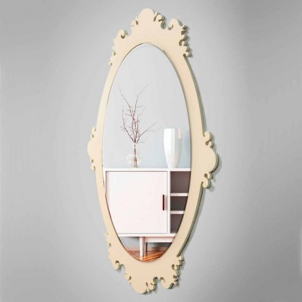 Miroir Mural Design Vintage en Bois Marron avec Cadre - Giangio