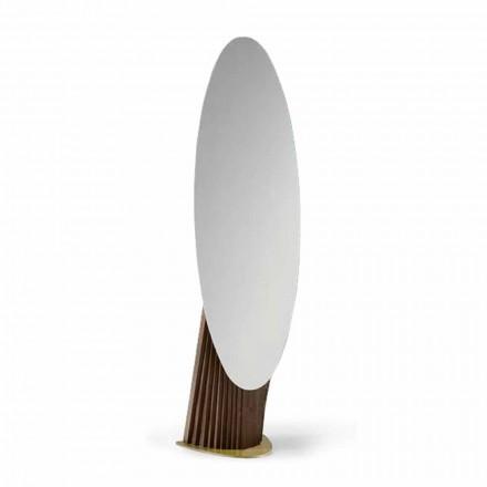 Miroir de sol de luxe en bois de frêne et métal fabriqué en Italie - Cuspide