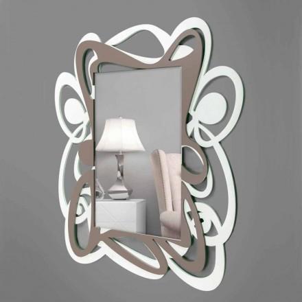 Grand Miroir Mural Décoratif Blanc et Beige Design Moderne - Bocchio
