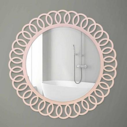 Grand Miroir Mural de Design Décoratif et Moderne en Bois Rose - Couronne