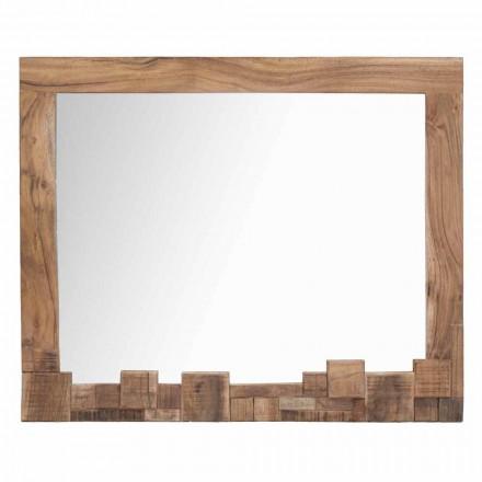 Miroir mural moderne rectangulaire avec cadre en bois d'acacia - Eloise