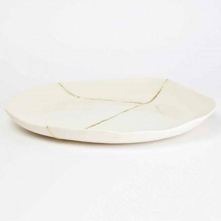 Plateau de service rond en porcelaine blanche et motif feuille d'or - Cicatroro