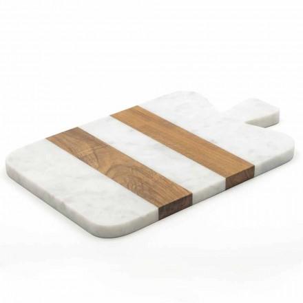 Planche à découper design marbre blanc de Carrare et bois Made in Italy - Evea