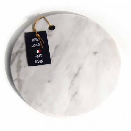 Planche à découper ronde en marbre de Carrare blanche fabriquée en Italie - Masha