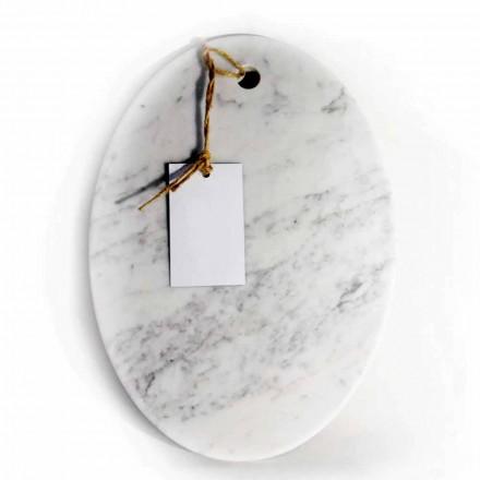 Planche à découper ovale moderne en marbre blanc de Carrare fabriqué en Italie - Masha