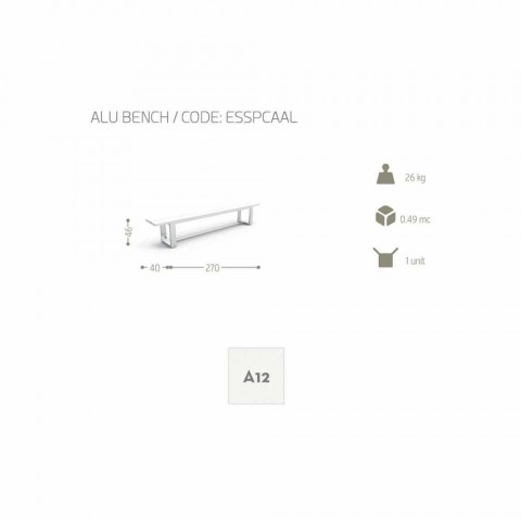 Banc de jardin Talenti Essence en aluminium blanc fabriqué en Italie