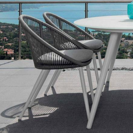 Chaise de jardin Talenti Rope en aluminium peint fabriqué en Italie