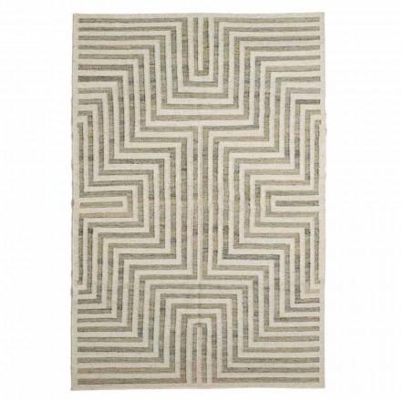 Tapis de salon à motifs géométriques en laine et coton moderne - Carioca