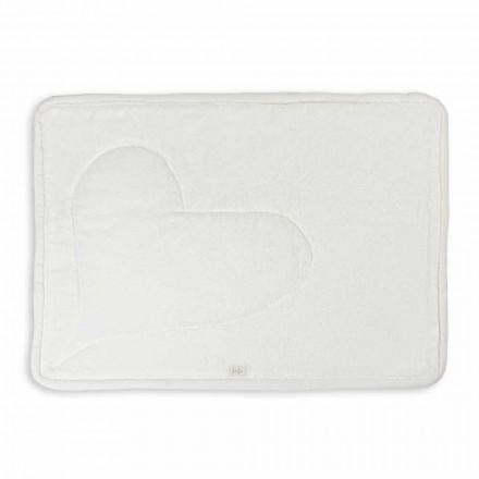 Tapis de bain en éponge de coton blanc naturel avec décoration cœur - Sullivan