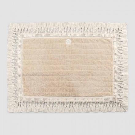 Tapis de bain rectangulaire en coton éponge avec dentelle de luxe à pampilles - Lippon