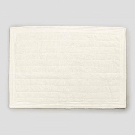 Tapis de salle de bain rectangulaire en tissu éponge coloré, Design Shabby Chic - Ginova
