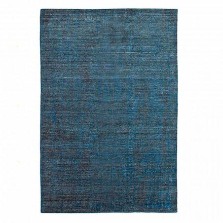 Tapis de salon fabriqué sur métier à tisser manuel en laine viscose et coton - Cristel